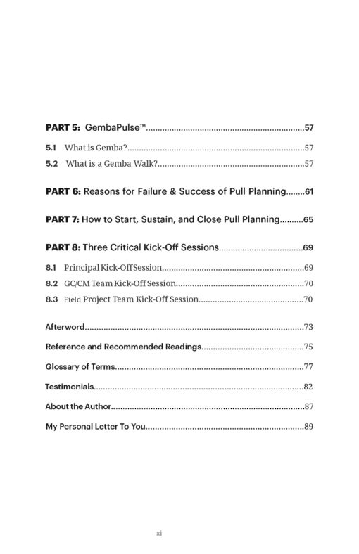 Pull Planning Playbook Table of Contents