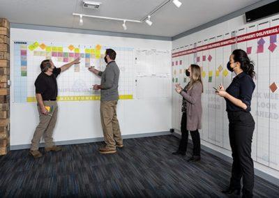 four adults utilizing Big Room Bravo for safe project management